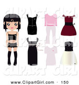 Clip Art of a Black Haired Caucasian Paper Doll Girl Wearing Undergarments, with Dresses, and Outfits to the Right by Melisende Vector