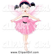 Clip Art of a Black Haired Fairy Girl Holding Her Dress by Pushkin