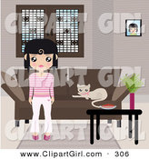 Clip Art of a Black Haired Girl Dressed in Pink and White Stripes, Standing in Front of a Brown Couch with a Kitty Resting on the Cushions and a Table with a Bowl and Plant by Melisende Vector