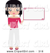 Clip Art of a Black Haired Girl Dressed in White and Pink, Holding up a Blank Sign with Hearts on It by Melisende Vector