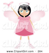 Clip Art of a Black Haired Tan Fairy Woman in a Pink Dress and Heels, with Big Pink Wings and a Halo, Holding a Winged Heart up by Melisende Vector