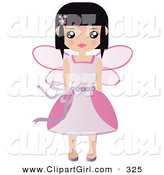 Clip Art of a Black Haired White Fairy Princess in a Pink Dress and Wings by Melisende Vector