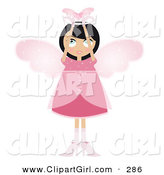 Clip Art of a Black Haired White Fairy Woman in a Pink Dress and Heels, with Big Pink Wings and a Halo, Holding a Winged Heart Above Her Head by Melisende Vector