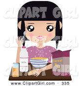 Clip Art of a Black Haired White Girl Seated at a Table with Milk, Juice, Bread and a Bowl of Cereal by Melisende Vector