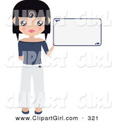 Clip Art of a Black Haired White Woman Dressed in White and Blue, Holding up a Blank Sign with Small Hearts on It by Melisende Vector