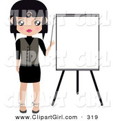 Clip Art of a Black Haired White Woman Pointing to a Blank Easel Board During a Presentation by Melisende Vector