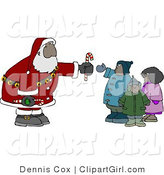 Clip Art of a Black Santa Claus Handing out Candy Canes to a Group of Kids by Djart