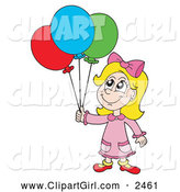 December 3rd, 2013: Clip Art of a Blond Birthday Girl with Balloons by Visekart