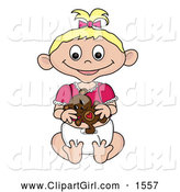 Clip Art of a Blond Caucasian Baby Girl with a Teddy Bear by Pams Clipart