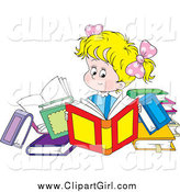 Clip Art of a Blond Caucasian Girl Reading Books by Alex Bannykh