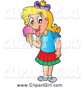 Clip Art of a Blond Girl Licking an Ice Cream Cone by Visekart
