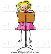 Clip Art of a Blond Girl Playing a Recorder by Prawny