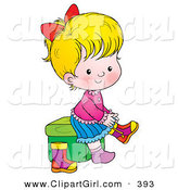 Clip Art of a Blond Girl Sitting on a Stool and Putting Her Boots on on White by Alex Bannykh