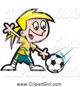 Clip Art of a Blond Girl Soccer Player by Jtoons