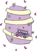 Clip Art of a Blond Teenage Girl Driving a Car down a Purple Hill Covered in Flowers, on a White Background by Lisa Arts