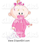 Clip Art of a Blond White Baby Girl Dragging a Stuffed Bunny by Pushkin
