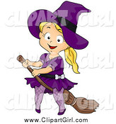 April 6th, 2015: Clip Art of a Blond White Halloween Girl Witch on a Broomstick by BNP Design Studio