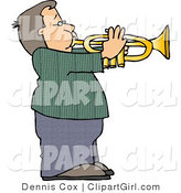 Clip Art of a Boy Playing Music Through a Brass Trumpet by Djart