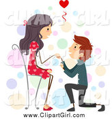 Clip Art of a Boy Proposing to His Girlfriend While She Sits by BNP Design Studio