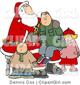 Clip Art of a Boy Sitting on Santa's Lap, His Siblings Nearby by Djart