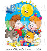 Clip Art of a Bright Sun Shining down on a Bird, Dog, Cat, Toys and a Boy and Girl by Alex Bannykh