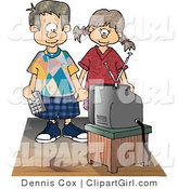 Clip Art of a Brother and Sister Standing and Watching Tv Together While Holding Hands by Djart
