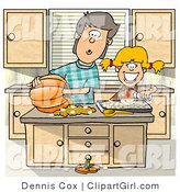 Clip Art of a Brother and Younger Sister Carving a Pumpkin in the Kitchen - Halloween by Djart