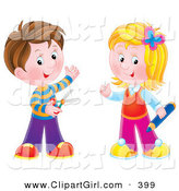 Clip Art of a Brunette Boy Holding Scissors, Standing with a Blond Girl Holding a Colored Pencil, Ready for School by Alex Bannykh