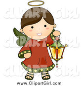 Clip Art of a Brunette Christmas Angel with a Lantern by BNP Design Studio