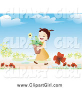Clip Art of a Brunette Girl Carrying a Potted Flower in a Garden by Mayawizard101