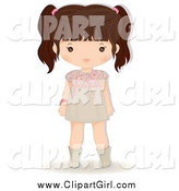 Clip Art of a Brunette Girl in a Dress by Melisende Vector