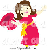 Clip Art of a Brunette Magician Girl Presenting by Cherie Reve