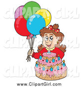 Clip Art of a Brunette White Birthday Girl with Balloons and a Cake by Visekart