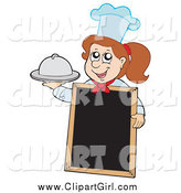 Clip Art of a Brunette White Chef Girl Holding a Platter by a Blank Menu Board by Visekart
