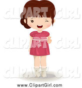 Clip Art of a Brunette White Girl in a Pink Dress Winking by Melisende Vector