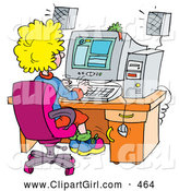 Clip Art of a Busy School Girl Using a Computer in a School Lab by Alex Bannykh