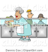 Clip Art of a Cafeteria Lady Preparing Plates of Food for School Children Waiting in Line at the Cafeteria by Djart