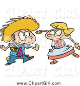Clip Art of a Cartoon Blond Boy and Girl Dancing at a Fiesta by Toonaday