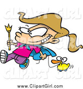 July 26th, 2015: Clip Art of a Cartoon Blond White Parade Girl Pulling a Duck by Toonaday