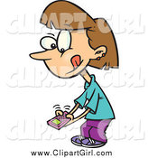 Clip Art of a Cartoon Brunette Girl Texting on a Cell Phone by Toonaday