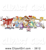 August 30th, 2015: Clip Art of a Cartoon Cow with Eight Milking Maids Christmas Scene by Toonaday