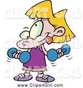 Clip Art of a Cartoon Little Blond Girl Lifting Dumbbells by Toonaday