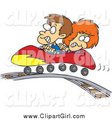 March 12nd, 2015: Clip Art of a Cartoon White Boy and Girl on a Roller Coaster by Toonaday