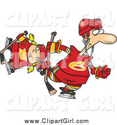 Clip Art of a Cartoon White Father and Daughter Playing Hockey by Ron Leishman