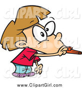 Clip Art of a Cartoon White Girl Blowing a Kazoo by Toonaday