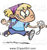 Clip Art of a Cartoon White Hiker Girl Running with a Compass by Toonaday