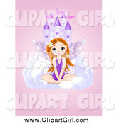 Clip Art of a Castle in the Sky with a Cute Fairy Girl over Pink by Pushkin
