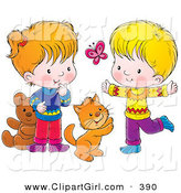 Clip Art of a Cat, Boy and Girl Chasing a Butterfly and Playing Together by Alex Bannykh