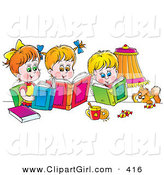 Clip Art of a Cat Watching a Cute Boy and His Two Sisters Read Books by Alex Bannykh
