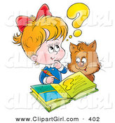 Clip Art of a Cat Watching a Little Blond Girl Do Her Homework on White by Alex Bannykh